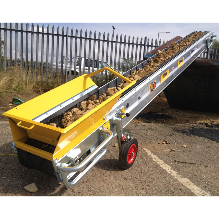 Mace Shifta Dirt Conveyor With Hopper - For Hire - 3.2m Long, 300mm Wide - 110V Electric