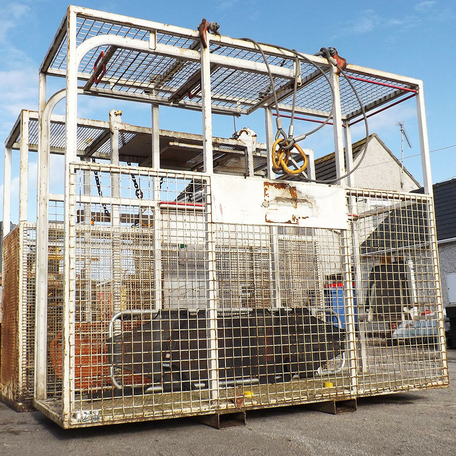 Hiremasters Personnel Evacuation Cage - Used - Hiremasters 2 Man Stretcher Cage - Emergency Evacuation Safety Crane Attachment.Safe Evacuation Cage Crane Attachment.2 Man Capacity (1 In Stretcher, 1 Standing). Does Not Include Stretcher.