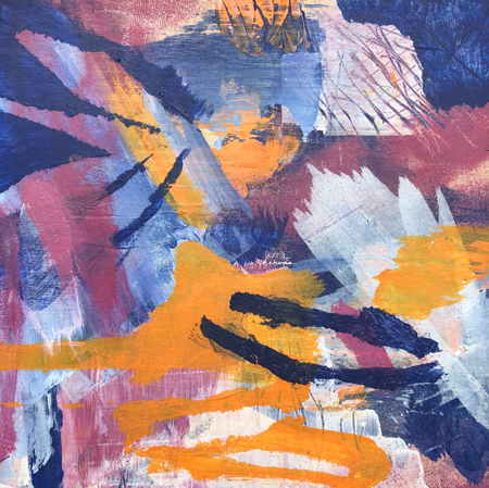 "Soleil Soleil (2019) - 8"" x 8"" acrylic on wood panel"