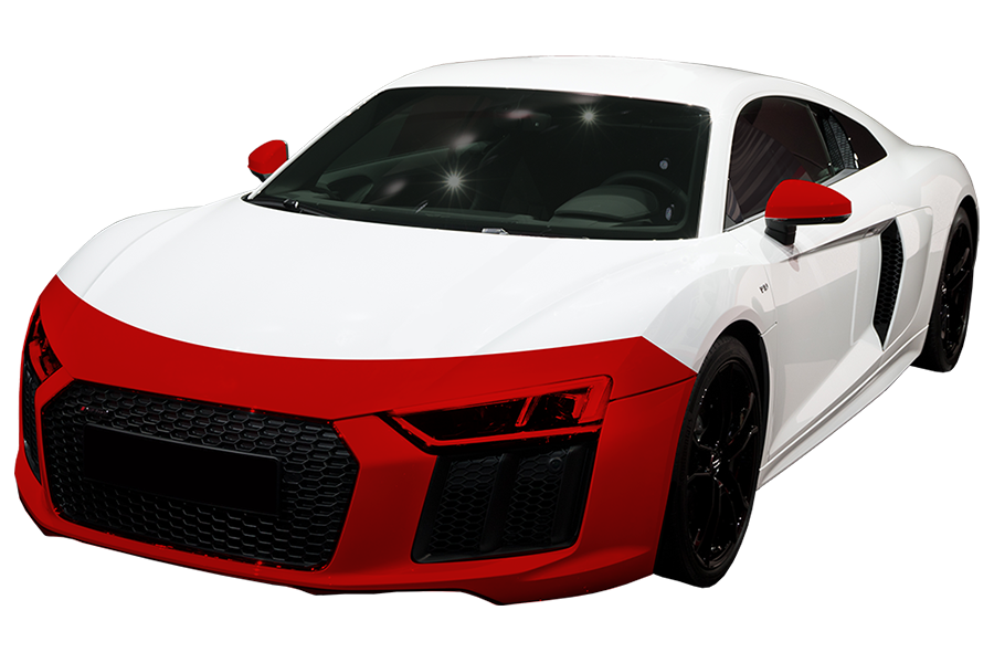 Preferred- $999 - Covers the painted surfaces of the partial hood, entire front bumper, headlights, partial front fenders, and backs of the painted side mirrors.