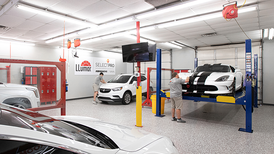 Alta Mere OKC installers working on tinting cars