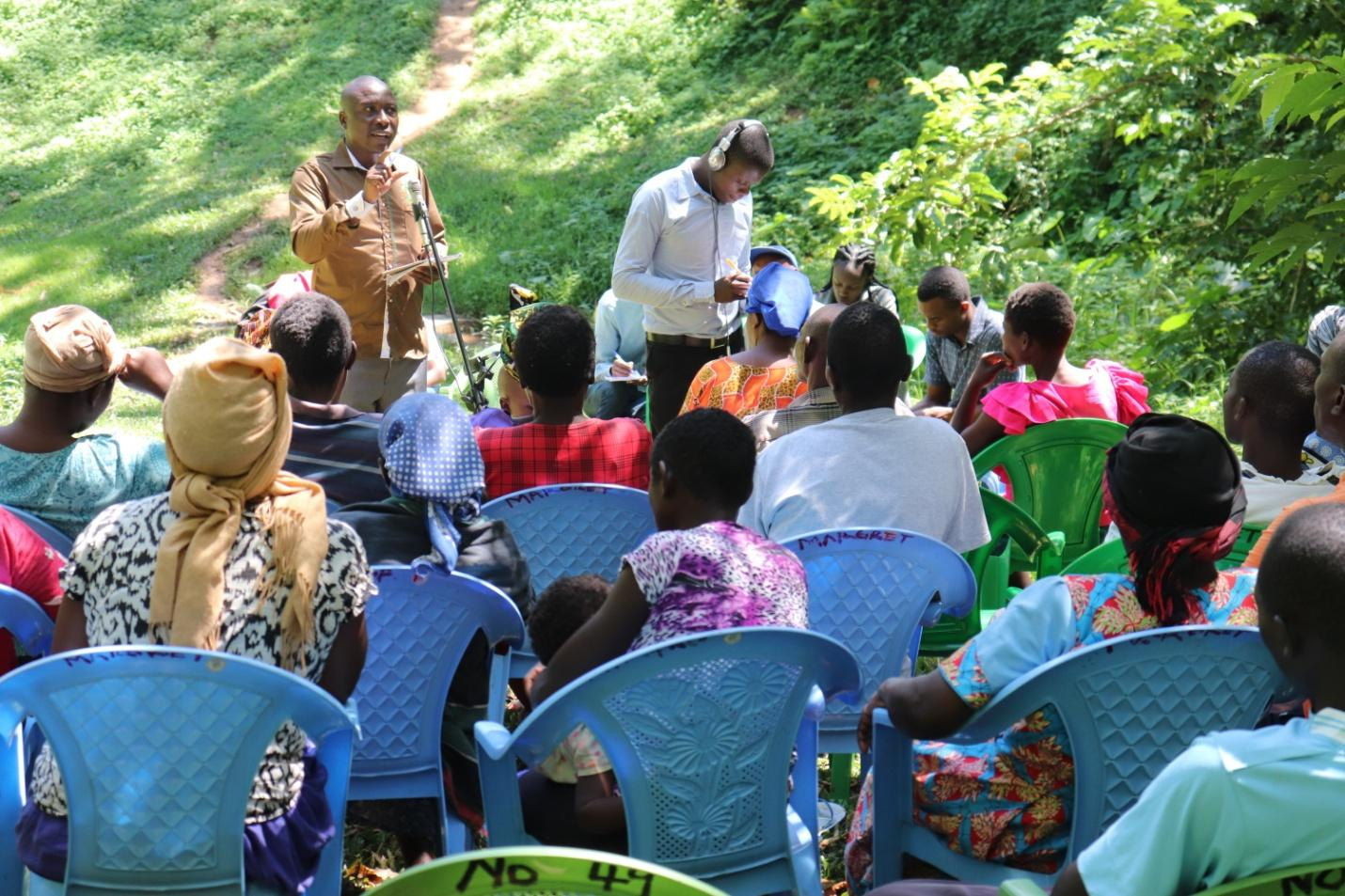 Figure 5: community sensitization cum radio talk show on climate change on the banks of a drying up river