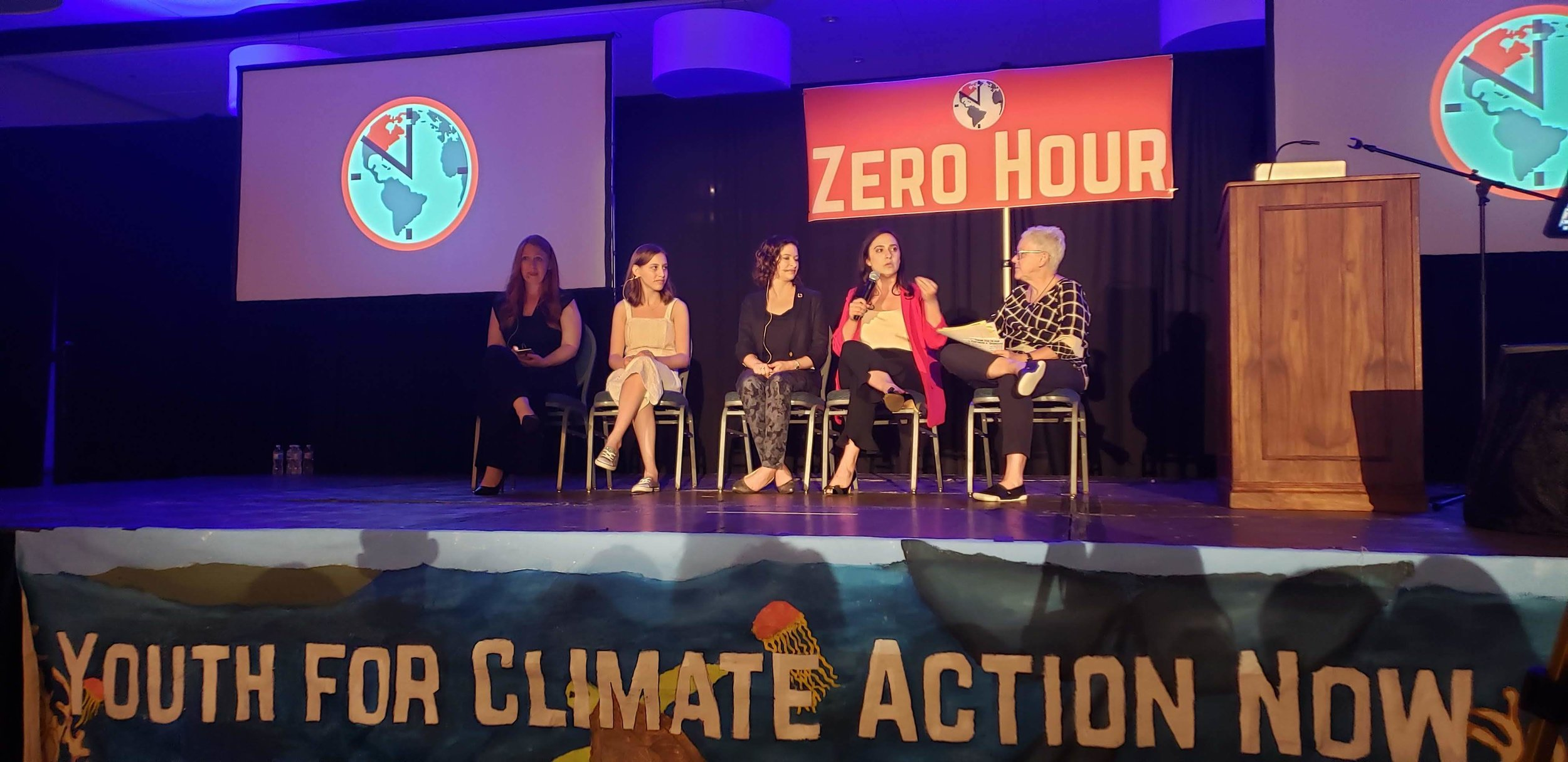 Alexandia Villaseñor (the second from the left) on a panel with other women climate leaders.