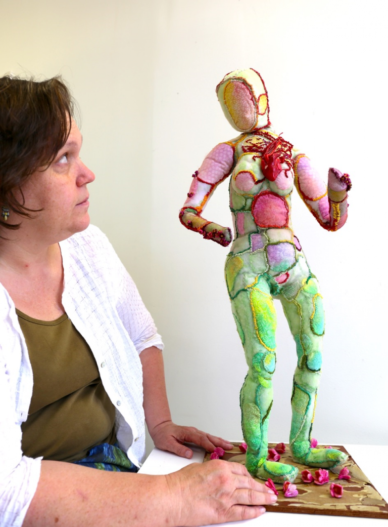 Patricia de Poel Wilberg considers her soft sculpture.