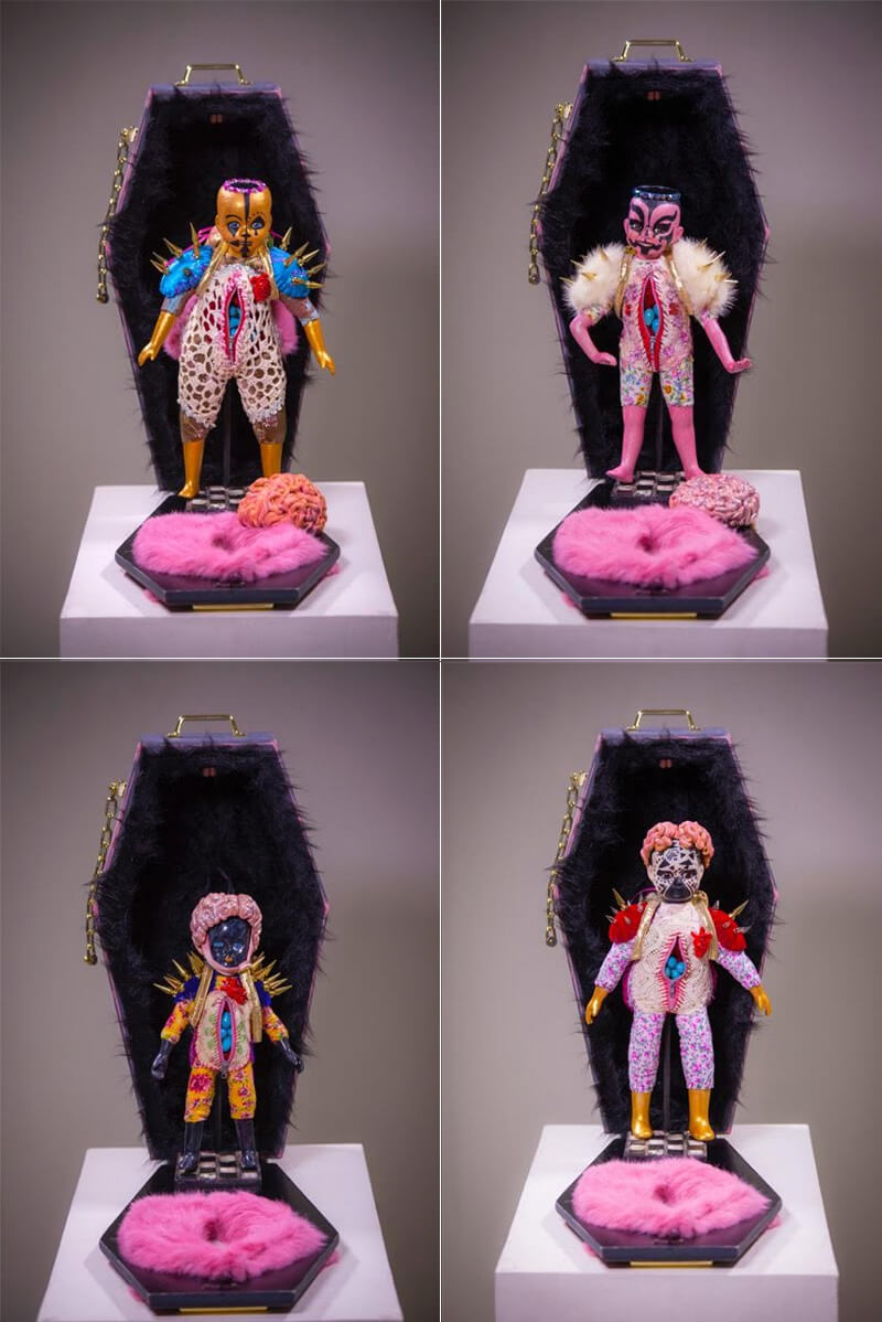 "Petit Oracles  , clockwise from top:  Goddess of ""Oh Yes I Did"", Goddess of I Got This, Goddess of Taking No Shit, Goddess of Badassery  (2016) Ceramic, vintage textiles, brass, crystals, thread, wood, fur, zippers 24 x 12 x 10"