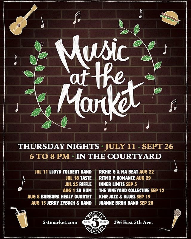 SUMMER is chock-full of fun & FREE festivities!  Join us on Thursday nights, beginning JULY 11, for Music at the Market 🎶🎵🎶 Relax and unwind in the ambiance of the @5thstreetpublicmarket courtyard & our expanded open-air seating! Food and beverages are available for purchase at the 5 Public Market Eateries and @provisionsmarkethall 🍻🍔