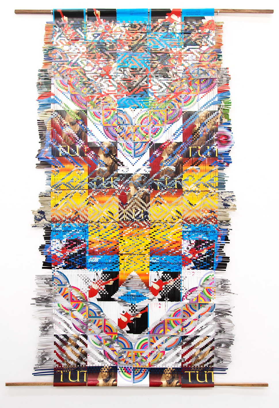 Miguel Arzabe, DeYoung Weaving, 2016. Woven DeYoung exhibition posters, 120 x 55.