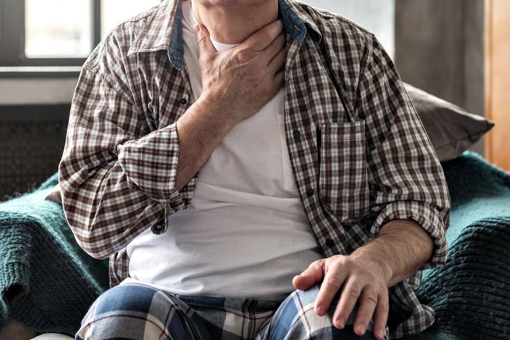 senior having swallowing problem