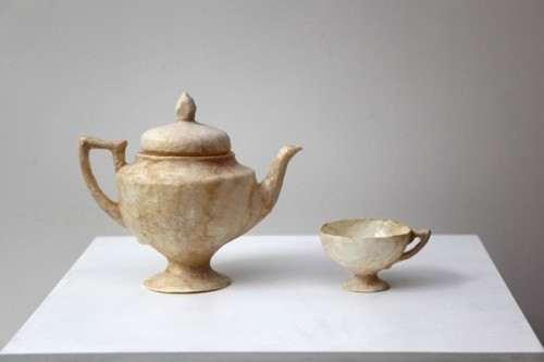 Tea for One  Hog intestines, resin, acrylic