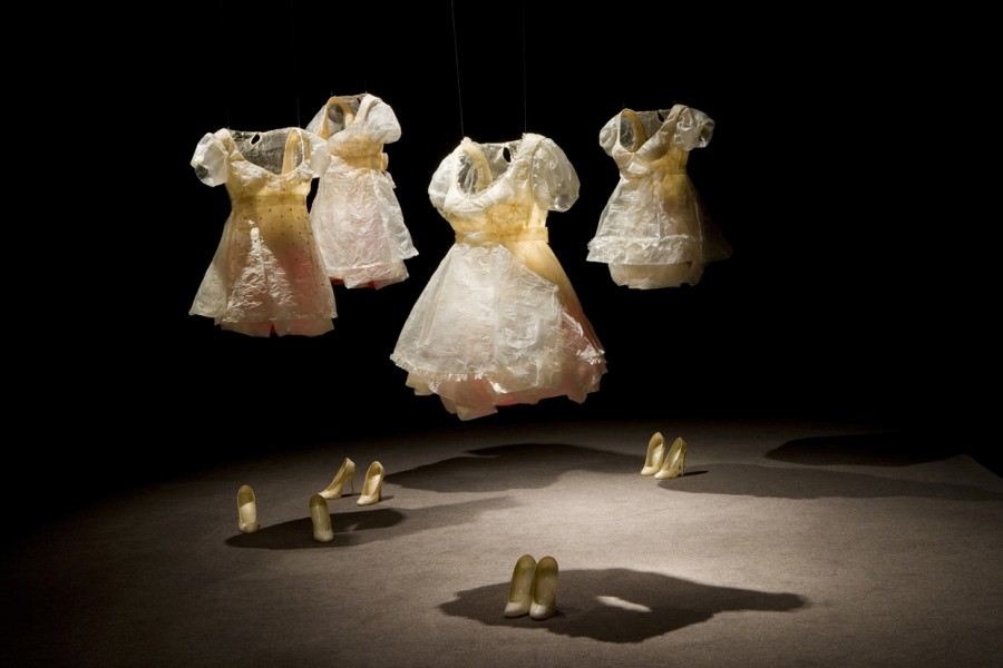 Playmates  Installation view at Robert Kidd Gallery Birmingham, MI Hog intestines, resin, acrylic, pigment