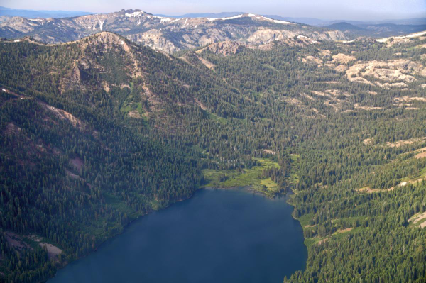 The west end of Independence Lake from the air.