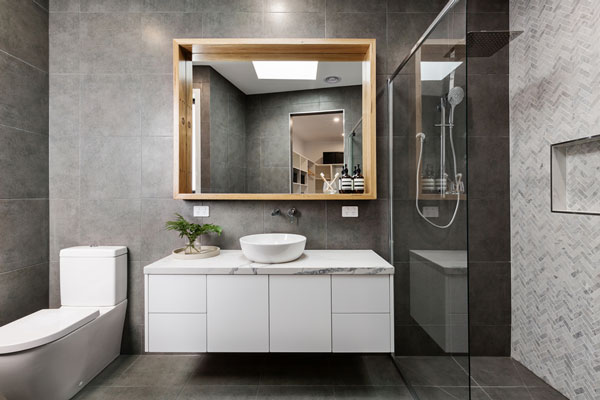 Luxury appointed bathroom part of this Jem Homes Melbourne new townhouse build