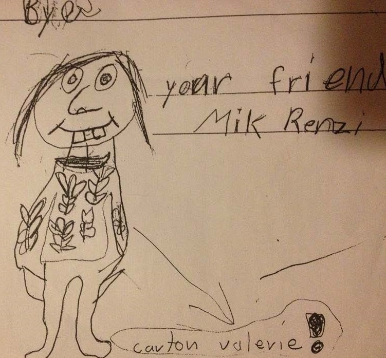 A kid who attended one of Val's school programs at the Berkshire Botanical Gardens drew this likeness of her in his thank you note. Val used it as official picture in the Garden's directory and on the door to her office.
