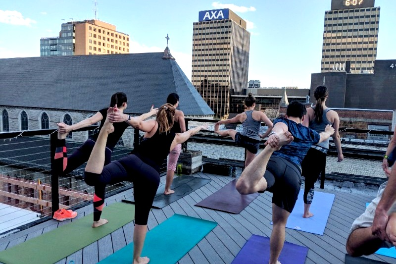 Rooftop Yoga - Ramp up your energy to meet the day with this class that will energize and challenge participants of all levels. Kathleen Frizzi will lead us through a movement sequence that will emphasize and nourish the digestive, circulatory and respiratory systems using a series of twisting and heart opening poses .Bring your mat and a couple of comfortable layers. If weather has different plans, we'll take the fun indoors.
