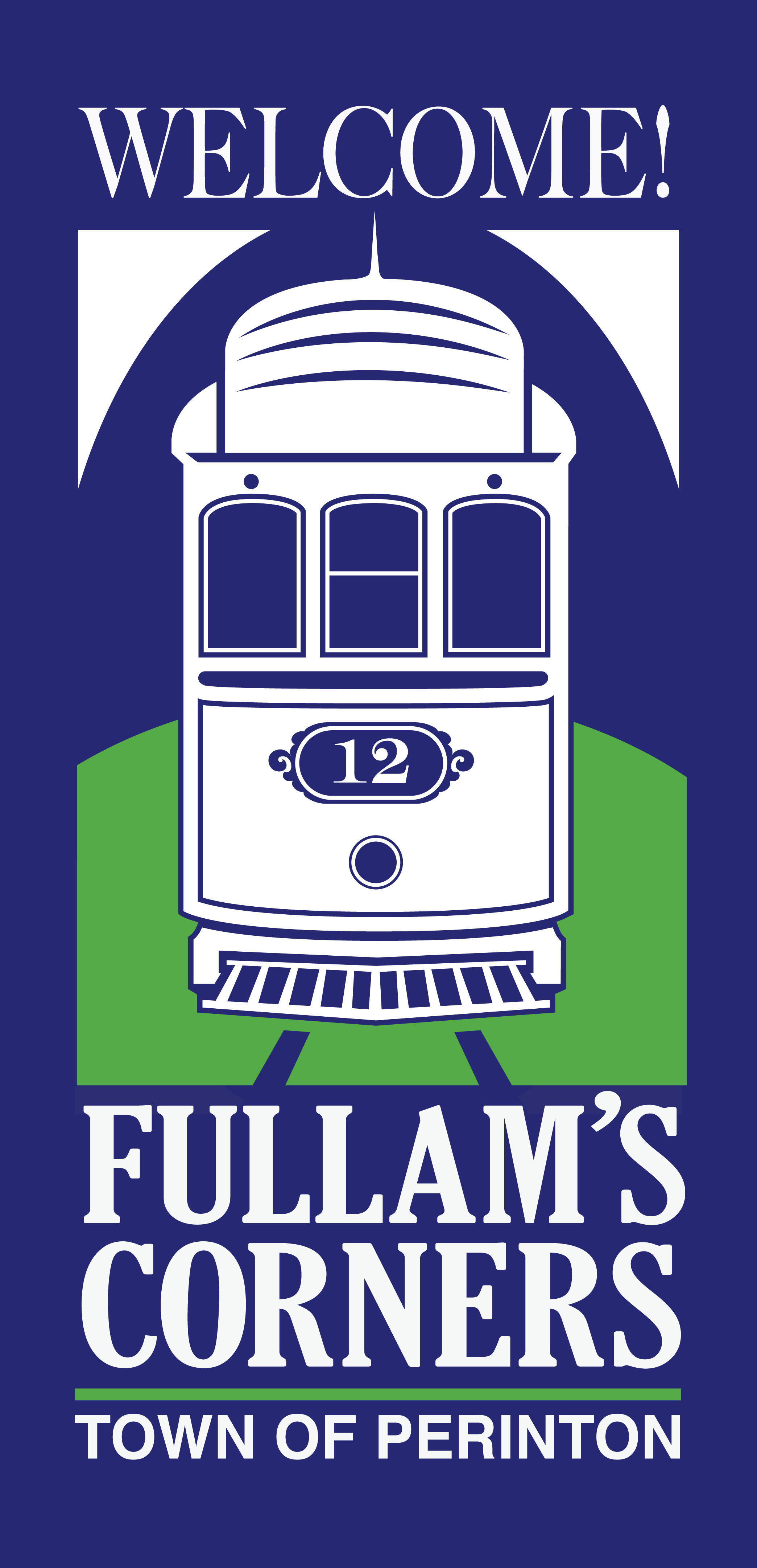 Historical canal basin and trolley stop facts and present-day development come together in the name and logo we created and assigned the business district formed by the newly aligned intersection of Fairport/Jefferson/O'Connor Roads.
