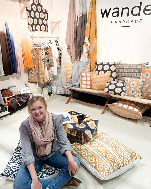 Last day at NY Now! Swing by booth 1877, we'd love to lounge with you on our fabulous @_tribal_textiles flour pillows😉💕