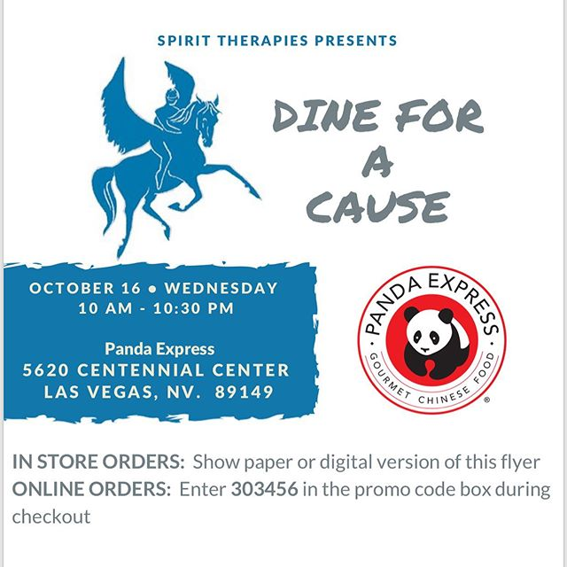 Help support Spirit Therapies while enjoying a great meal!  Just present the digital version of this flyer (show instagram) at the Panda Express located at 5620 Centennial Center and Spirit gets 20% of the proceeds!! You enjoy your meal and we get some much needed funding!