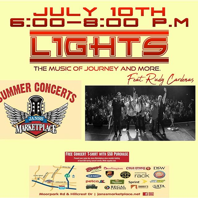 Hey Ventura County!  Catch us on July 10th at Janss Marketplace in Thousand Oaks! See you there! #lightsband