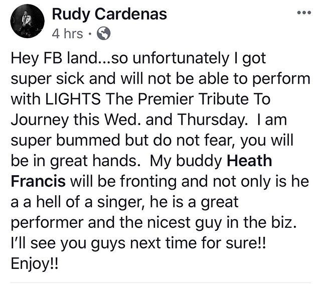 Hey guys...we are sad to say that our boy, Rudy is super sick right now and will not be able to sing at this week's shows. We have our good friend and great singer, Heath Francis filling in. Rudy will be back in action soon!  Wishing you a speedy recovery, @ruthedaymusic!