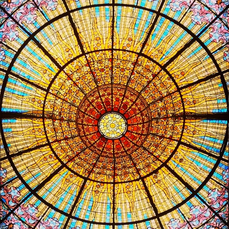 Just some colored glass in the ceiling that's all. - Palau de la Música Catalana, Barcelona