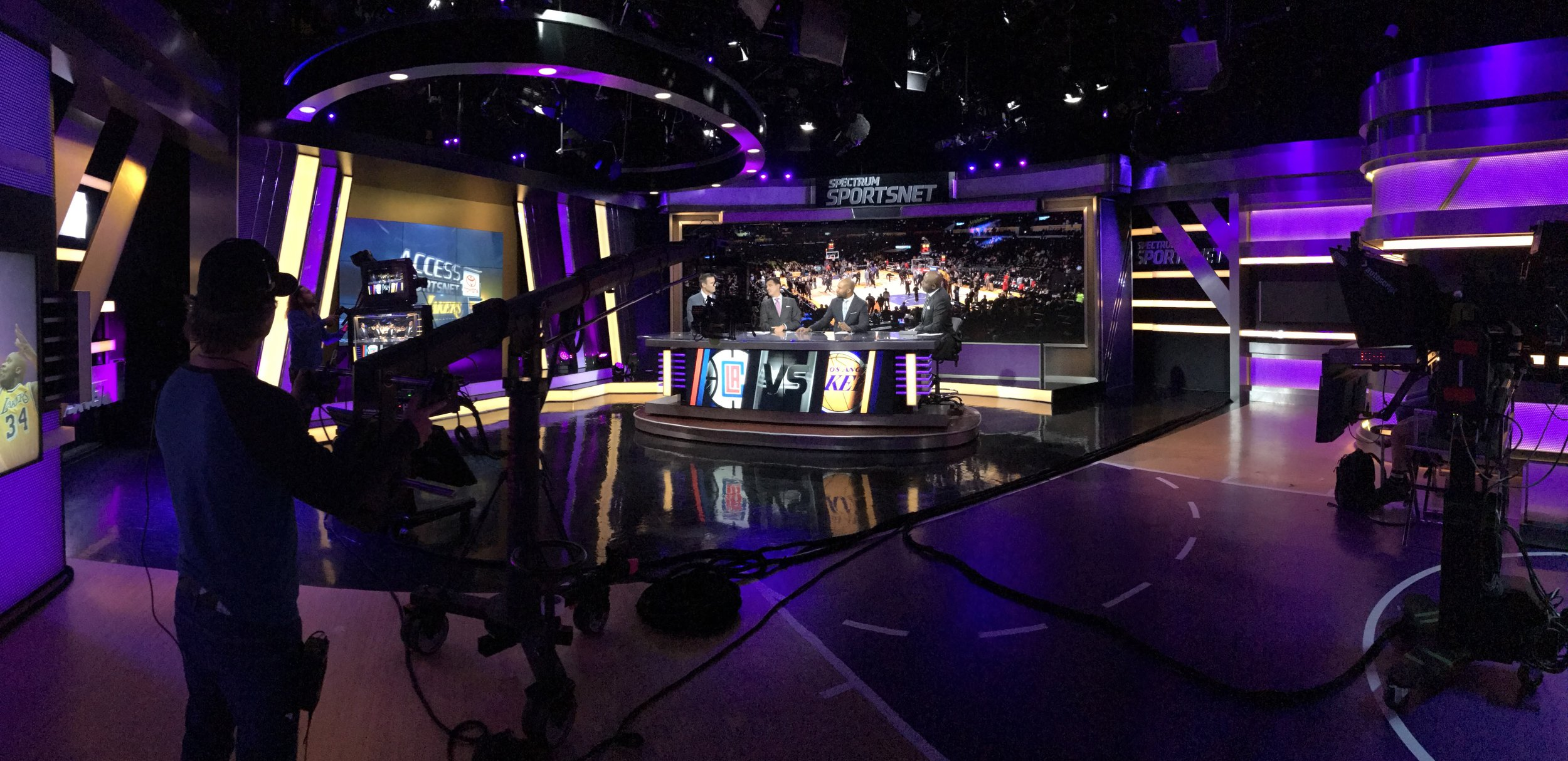 On set watching James Worthy and crew cover the Lakers - Access SportNet Lakers, Spectrum Studios L.A.