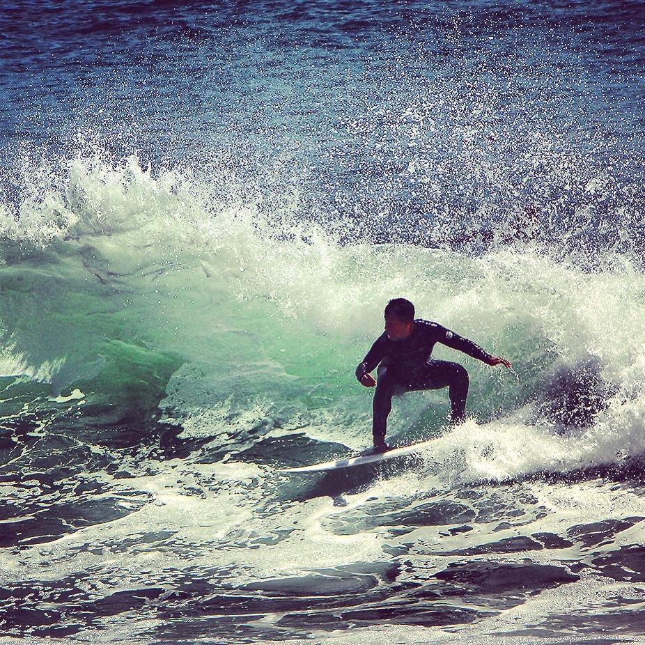 Splash surfing off Sunset. - Malibu, CA