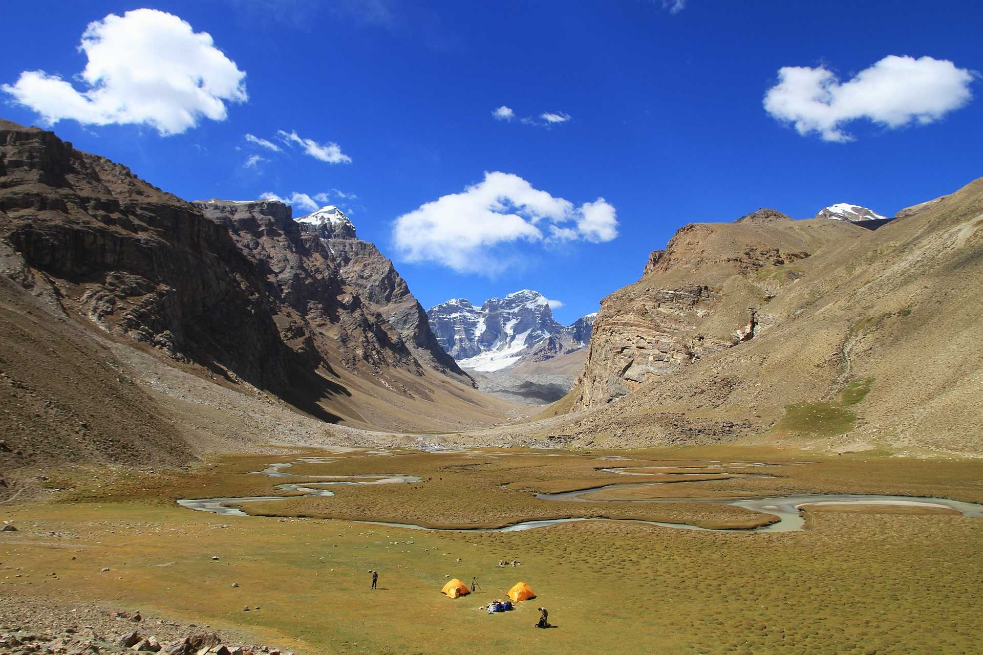 "Hike to Engels Peak base camp - The idyllic ""Engels meadows basecamp"" (3945) is a highlight of the Southern Pamirs and is the historic base-camp for countless mountaineering expeditions. It can be comfortably reached by the ordinary walker.From the village of Zong on the main road, you can drive 8 km to Dirch village. From there, it will take you 4 hours to hike 16 km to Engels meadow base camp.Located in Ishkashim district."