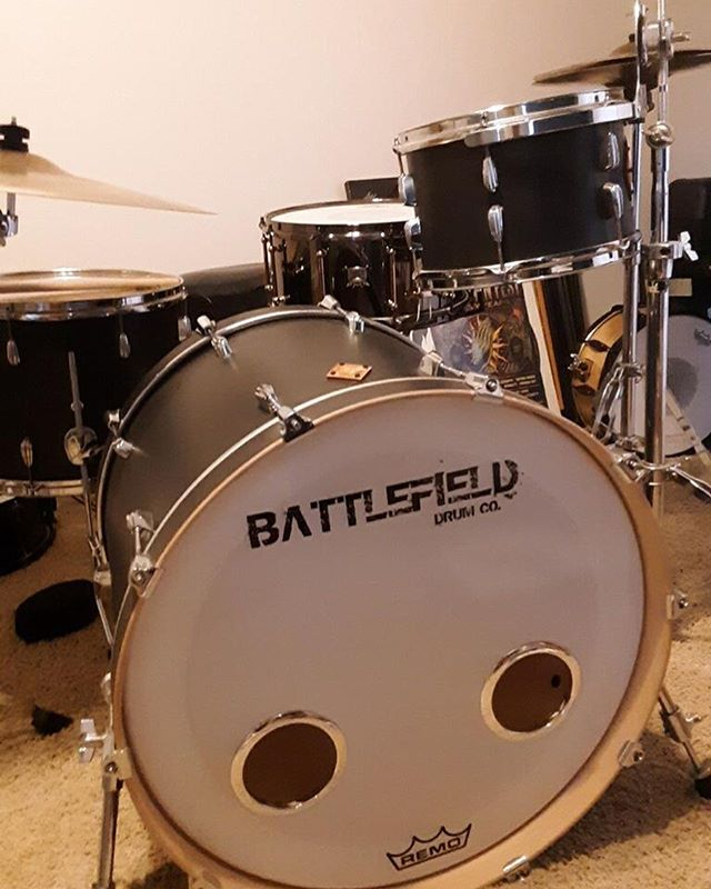 """Congrats on the new """"Battlehawk Brass"""" snare to add to that beautiful flat black kit! Enjoy it, Andrew! Btw, Andrew's exact words were... """"she sounds perfect!"""""""