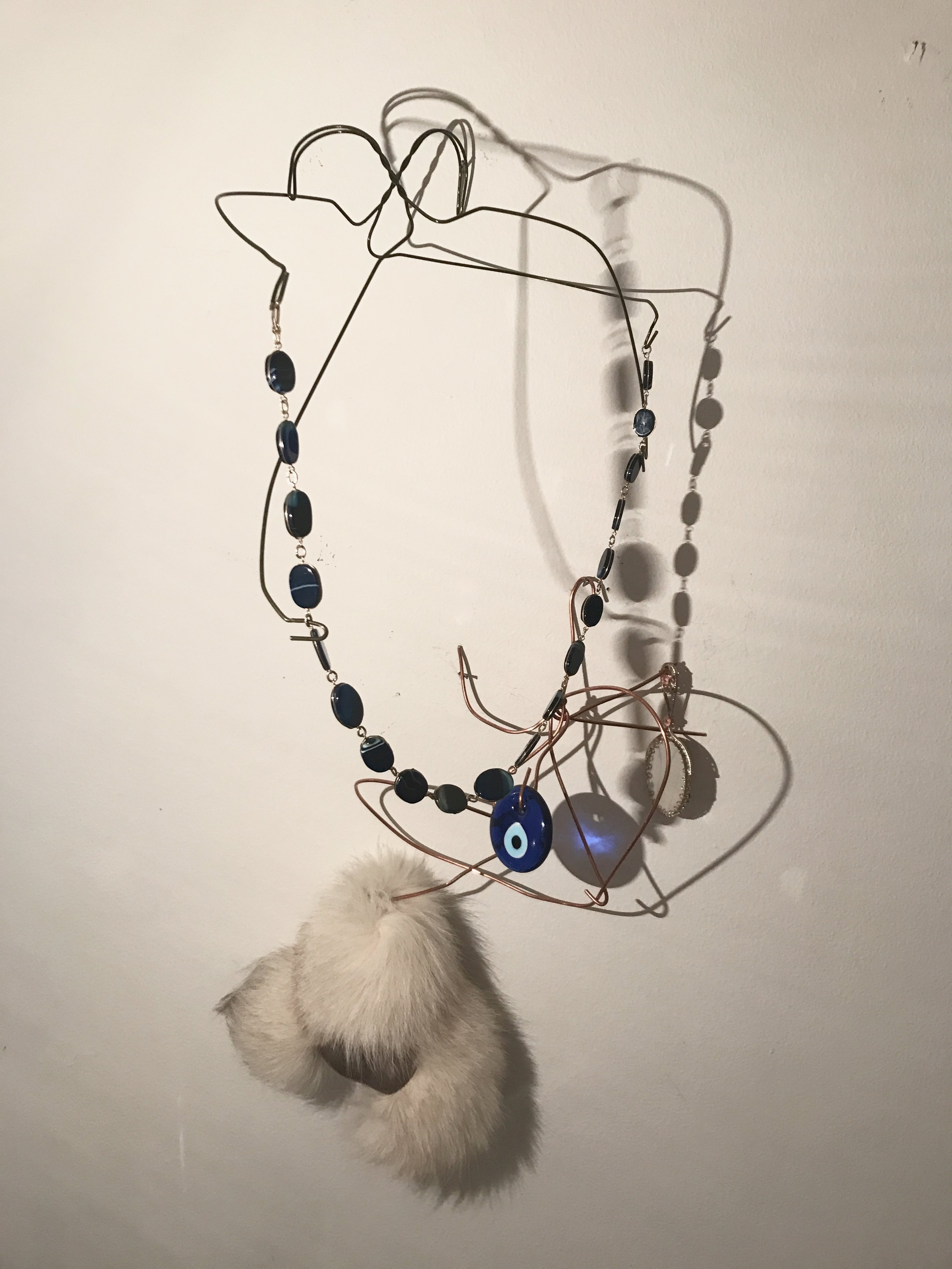 Change Your Luck, a tribute to Robert Colescott , 2017  copper wire, wire hanger, silver, brass, foxtail, glass, stone
