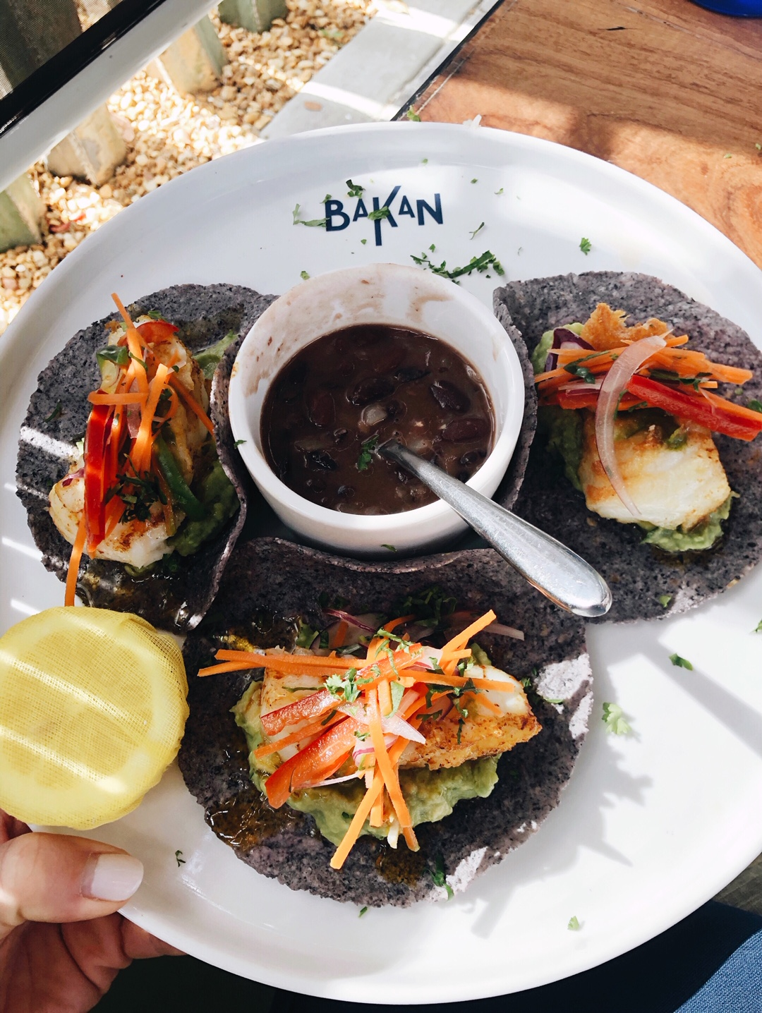 The Robalo Chileno tacos from Bakan in Wynwood, FL are SO good - chilean seabass, veggies, yuzu-basil, guacamole & black beans. They also pair their mezcal drinks with food.