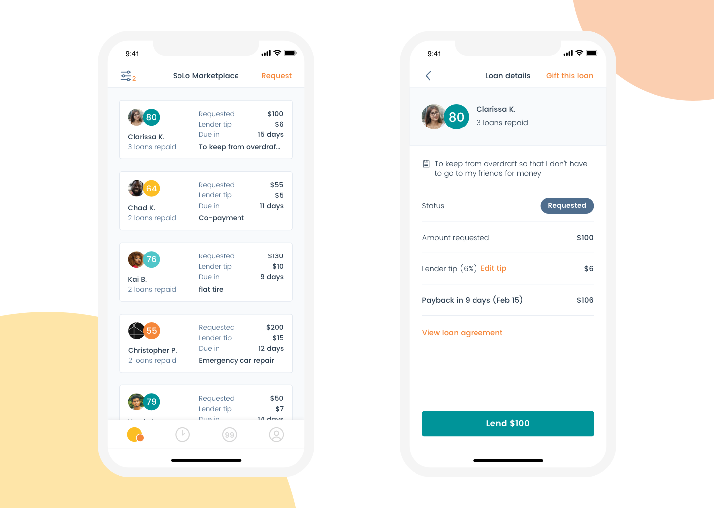 See past transaction history, open loan requests, and our machine learning-driven SoLo Score all in one place.