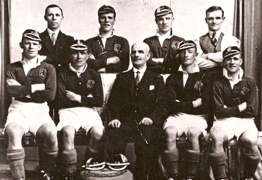 Lochee Harp 1934-35    Back row left : J Dunn (Secretary), A Brown, T Adamson, W Cameron (Trainer)   Front row left : A Ferguson, H Duncan, G Walls (President), P Coleman, R Boag
