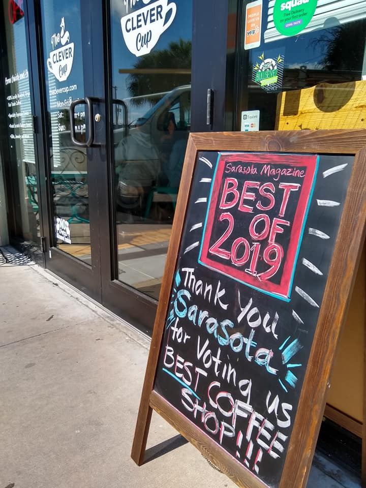 Sarasota Magazine's Best Coffee Shop of 2019 and SRQ Magazine's Best Coffee Finalist - Read what people have to say about the Clever Cup:15 Great Coffee Shops in Sarasota5 Great Sarasota Coffee ShopsThe Coffee Lover's Guide to Sarasota10 of Our Favorite Local Coffee Shops