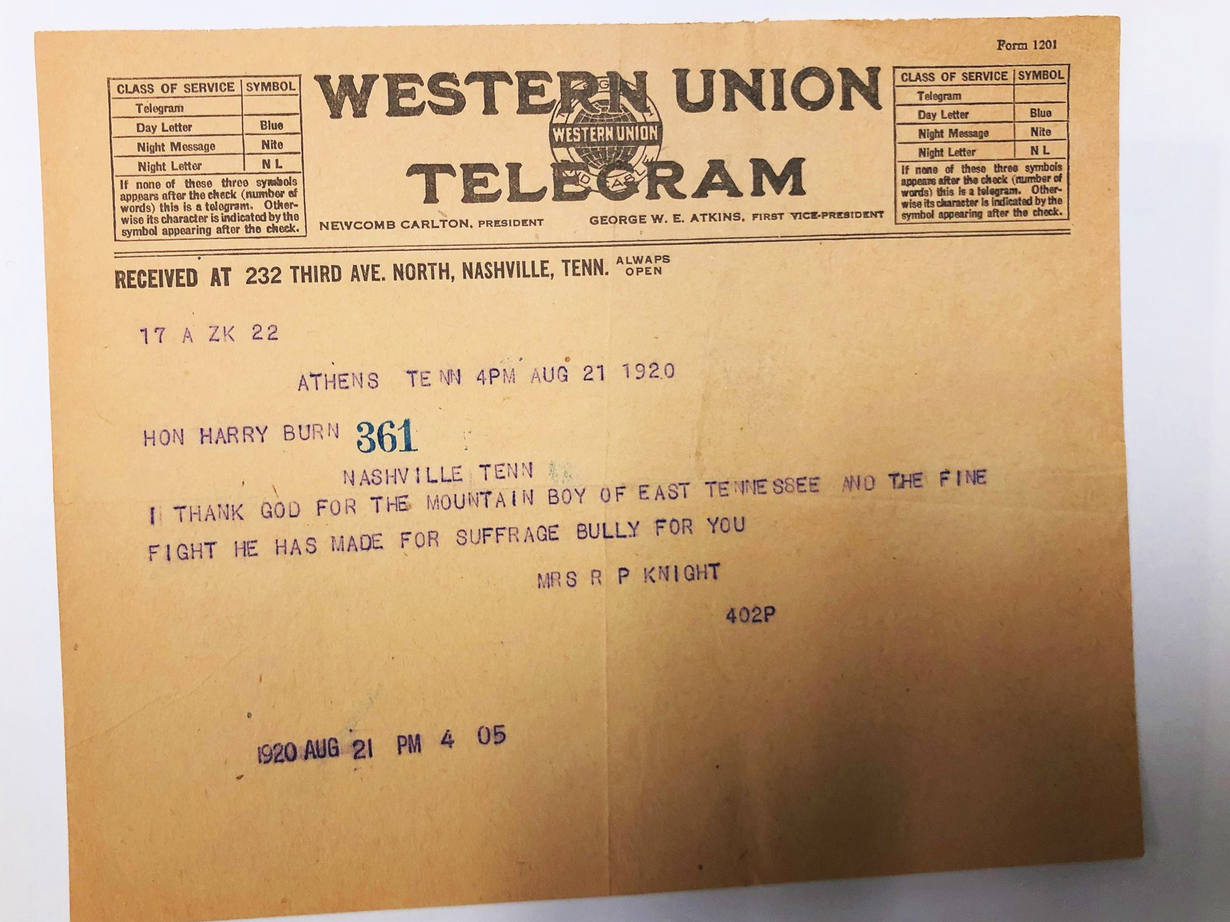 One of MANY telegrams we saw during research congratulating Harry T. Burn on his deciding vote to ratify the 19th and grant women the right to vote.