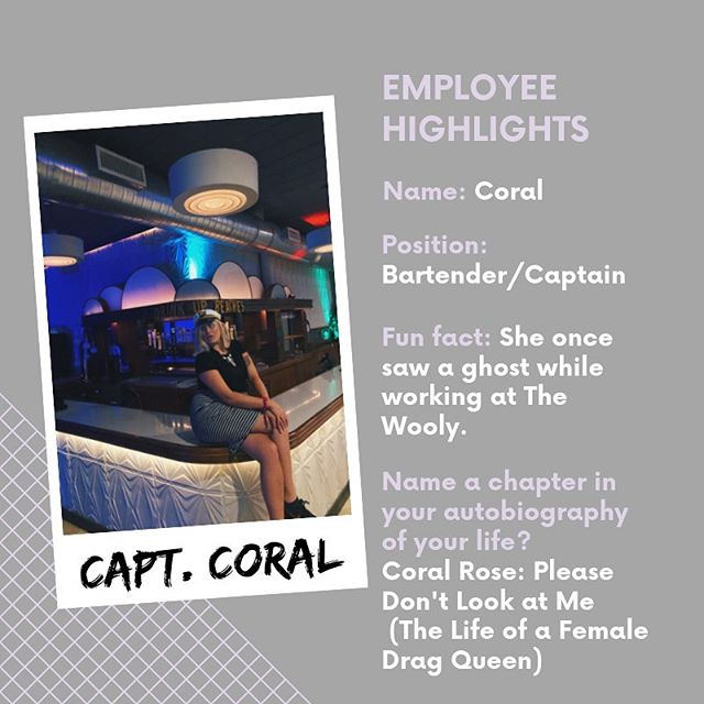 Introducing Coral, our glam queen bartender/captain! There is never a dull moment with her and she makes every event spectacular! Check out her spooky, fun fact and hilarious autobiography title and show some love to Capt. Coral! 💖 • • • • #EmployeeHighlight #TheWooly #WoolyDowntown #downtowngnv #employees #tophubcompany
