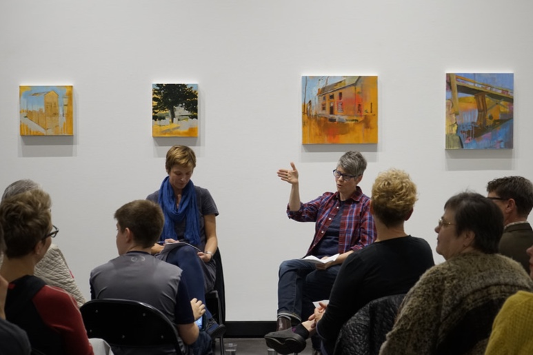 Christina Schmid (left) and Chris Willcox (right) in conversation at  The Beginning (Again)  solo exhibition, Law Warschaw Gallery, Fall 2016.