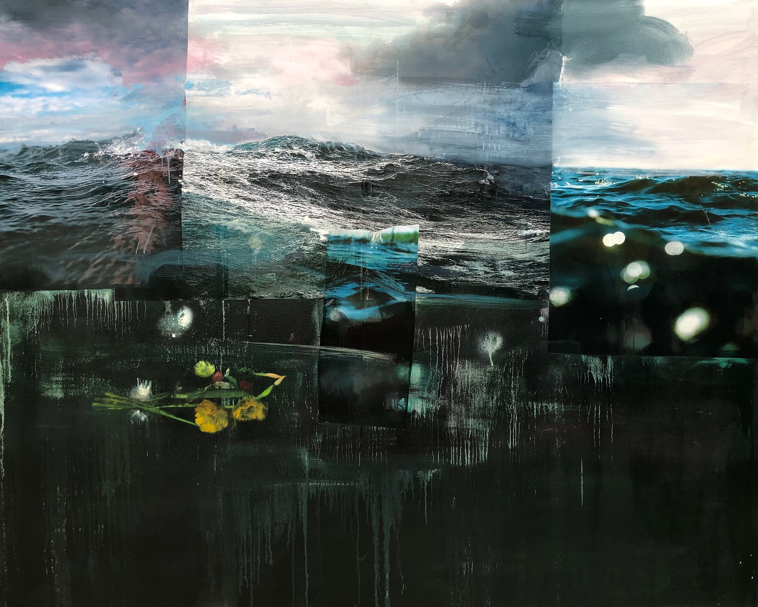 """Adrift  (left panel of triptych), 2018, oil and collage on canvas, 60"""" x 48"""" each"""
