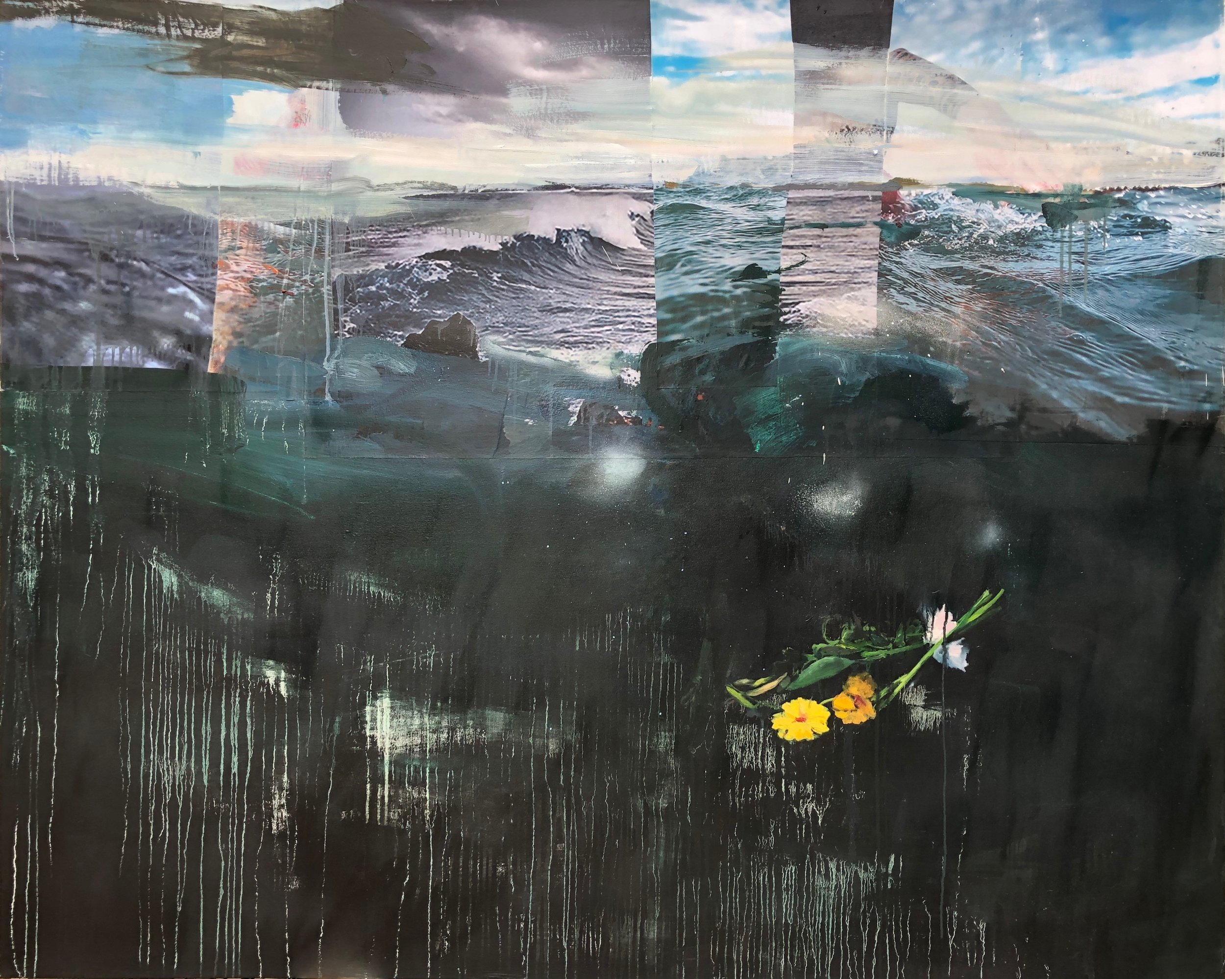 """Adrift  (right panel of triptych), 2018, oil and collage on canvas, 60"""" x 48"""" each"""