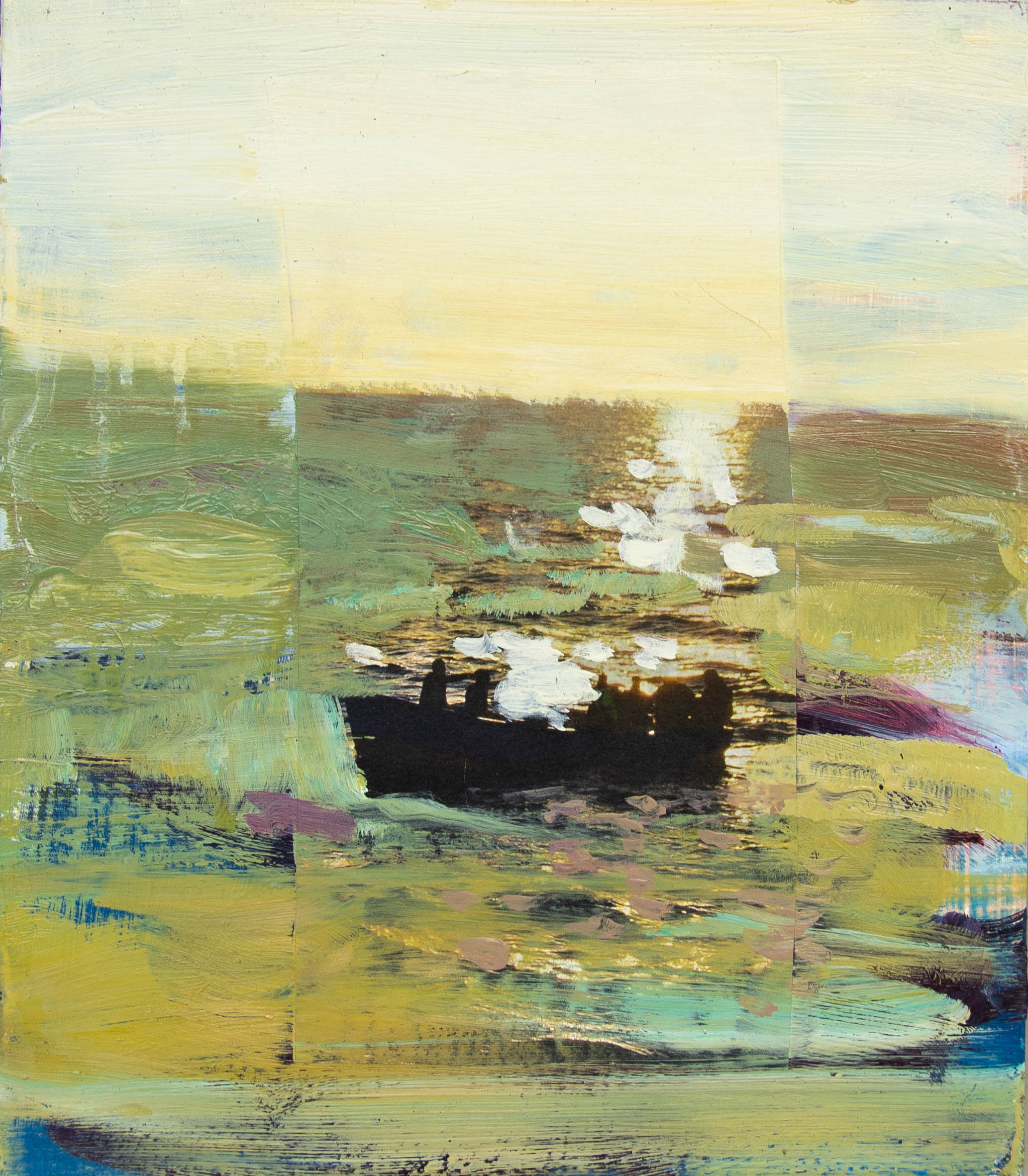 Boat (Ochre-Green),  2018, oil and collage on panel
