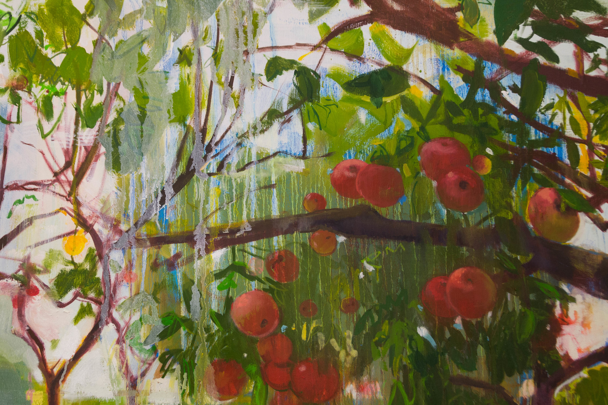 "Orchard  (Detail), oil and spray paint on canvas, 48"" x 60"""