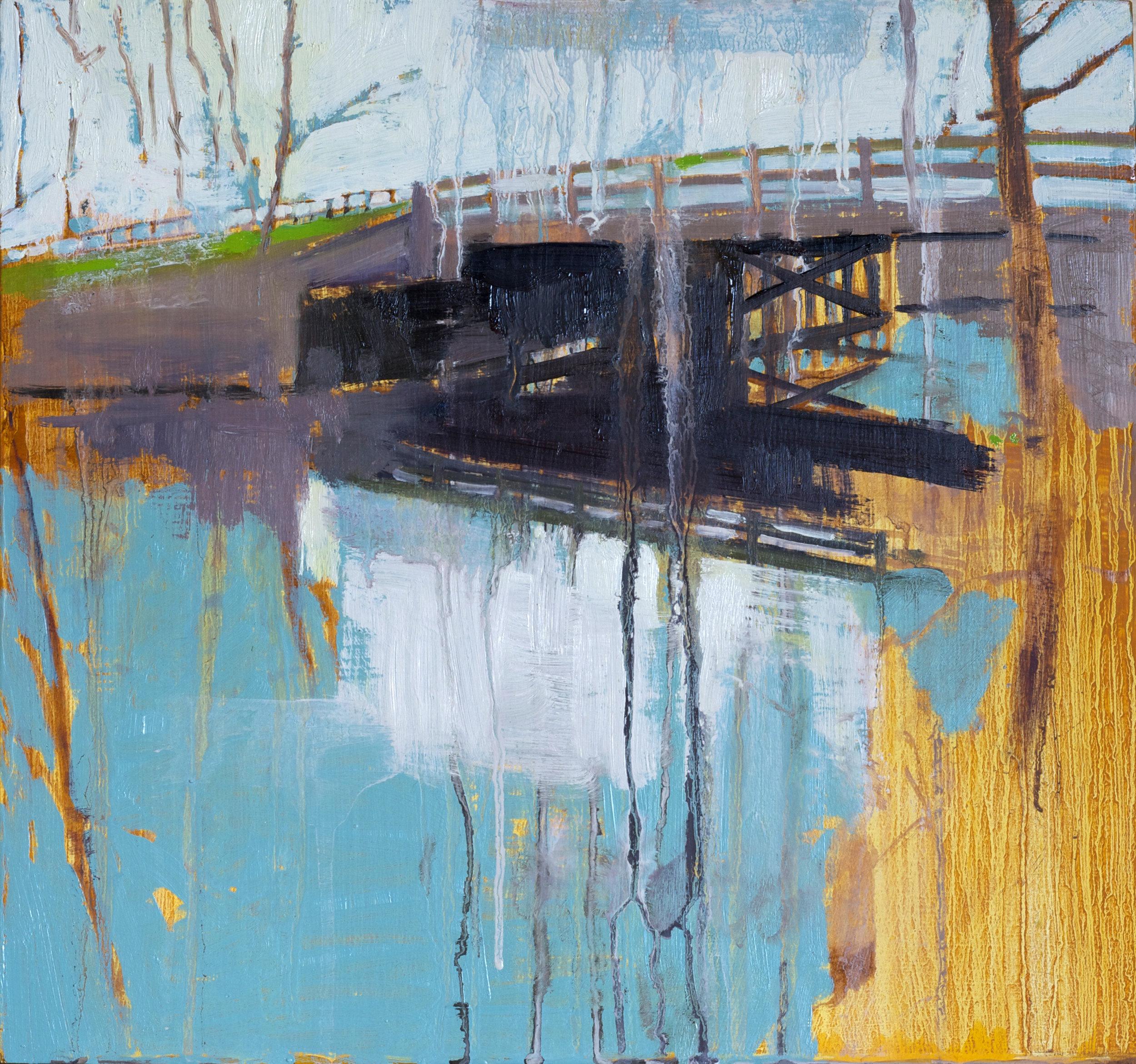 "Bridge,  2015, oil on panel, 13"" x 14"""