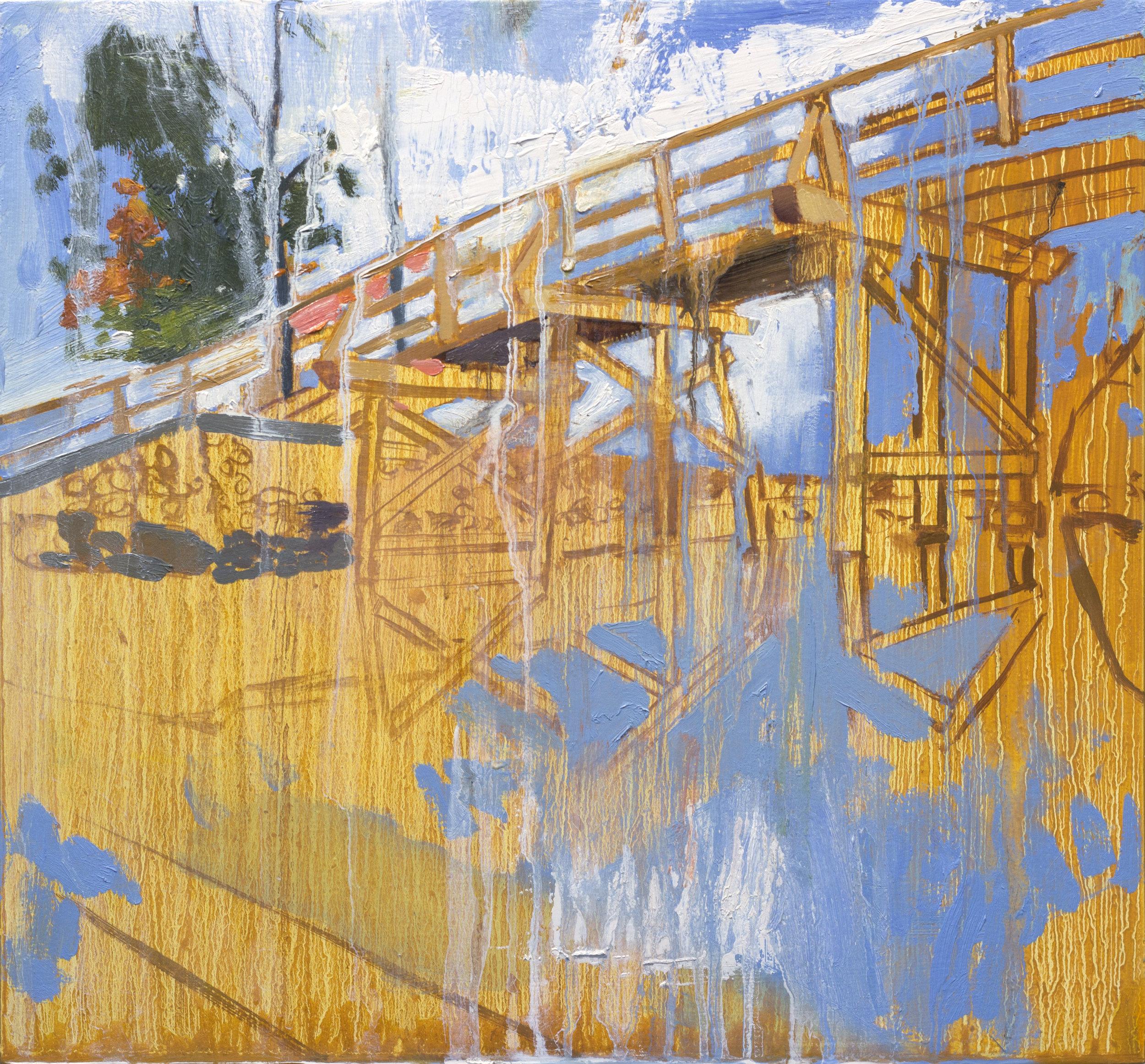 "Trestle Bridge,  2015, oil on panel, 13"" x 14"""