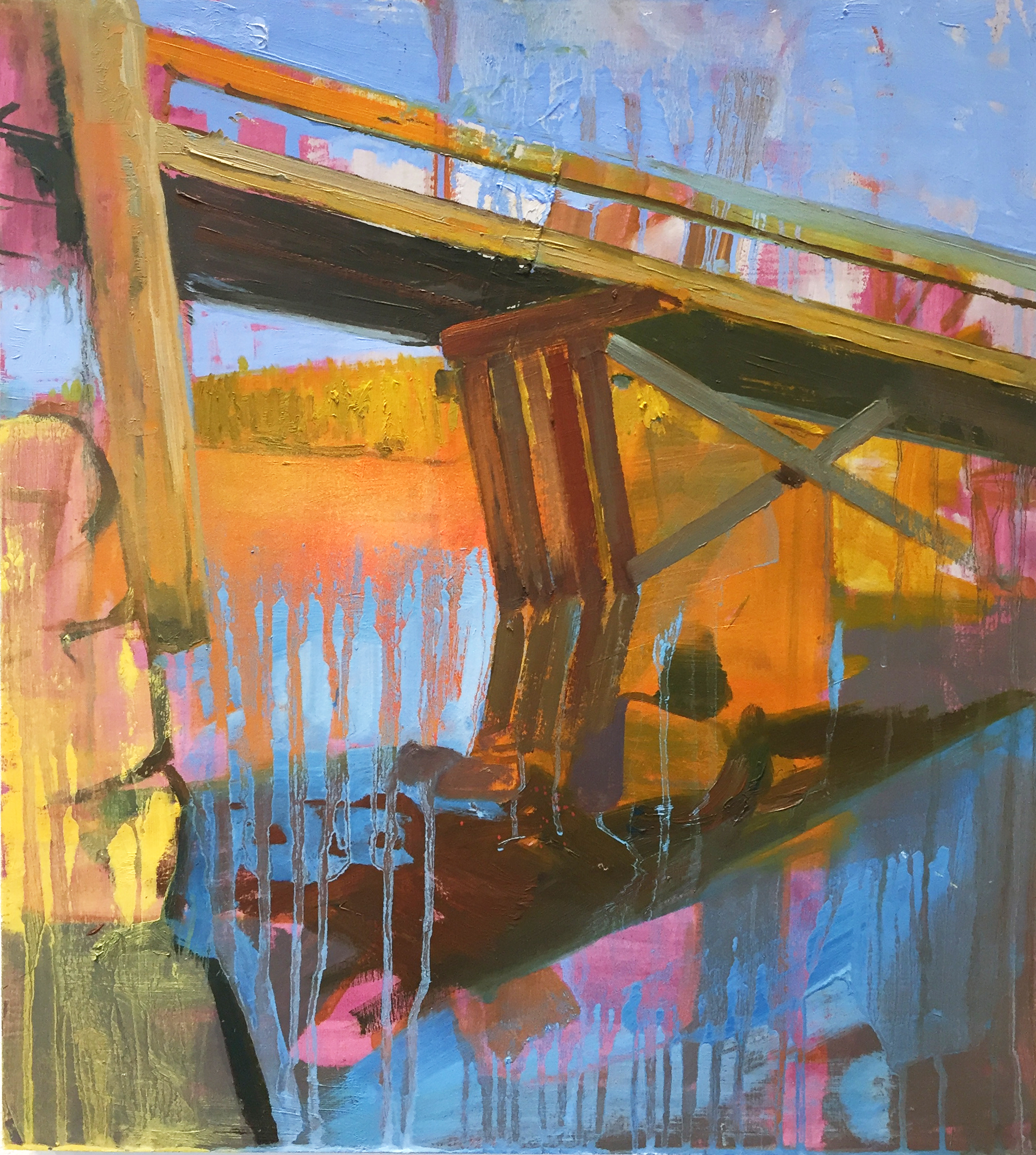"Pink Bridge,  2015, oil and spray paint on panel, 18"" x 16"""