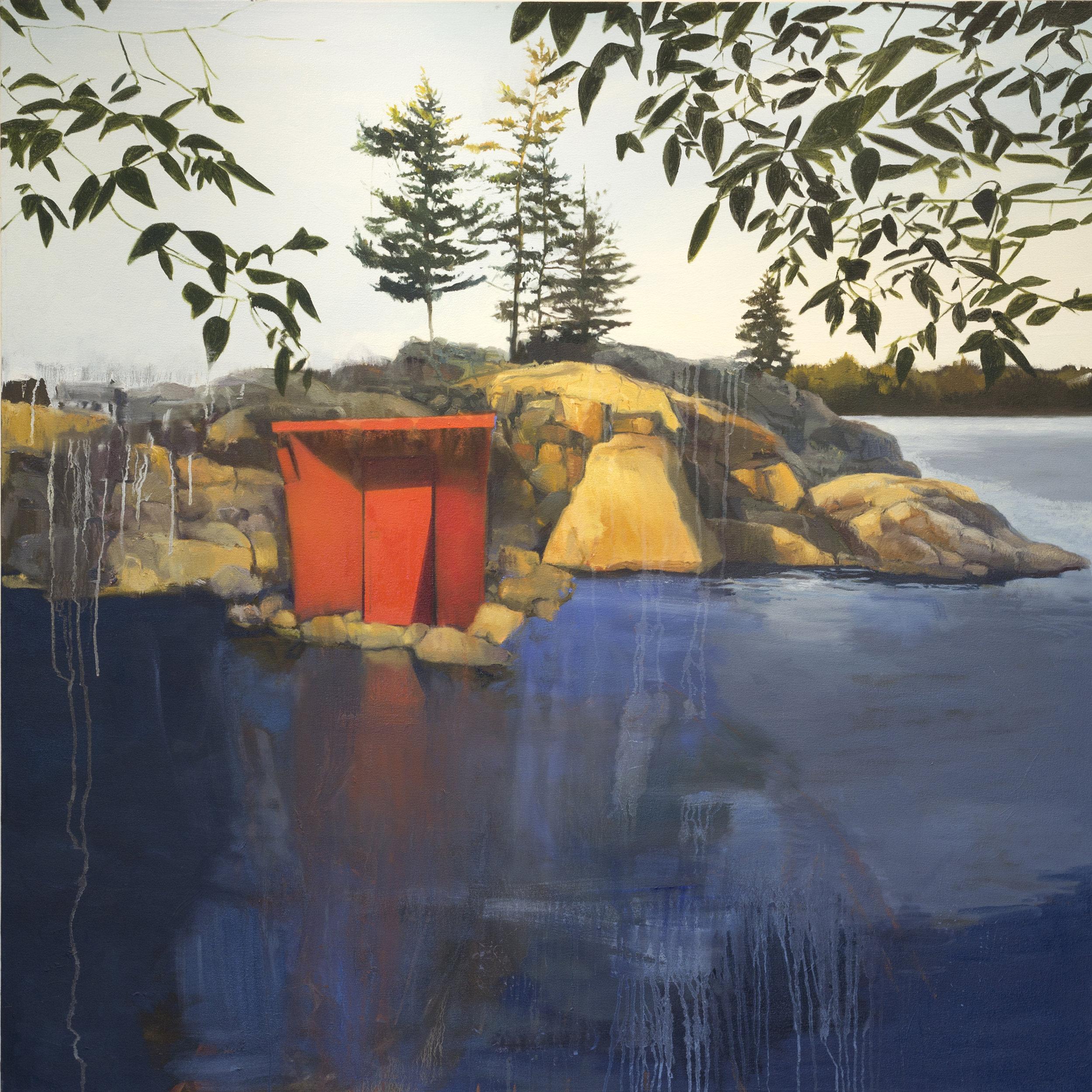 """Red Door,  2015, oil on canvas, 48"""" x 48"""""""