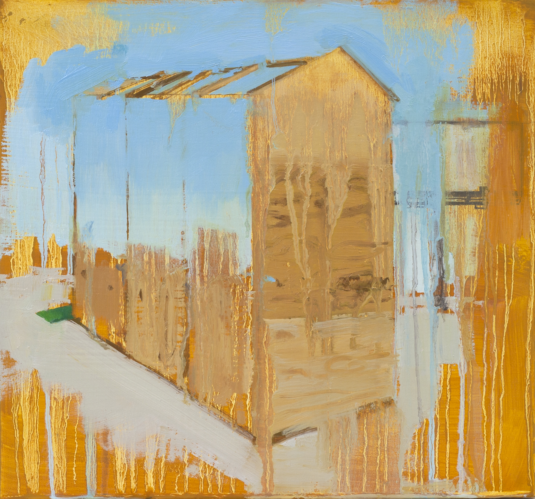 """Half Built House,  2014, oil and spray paint on panel, 12"""" x 13"""""""