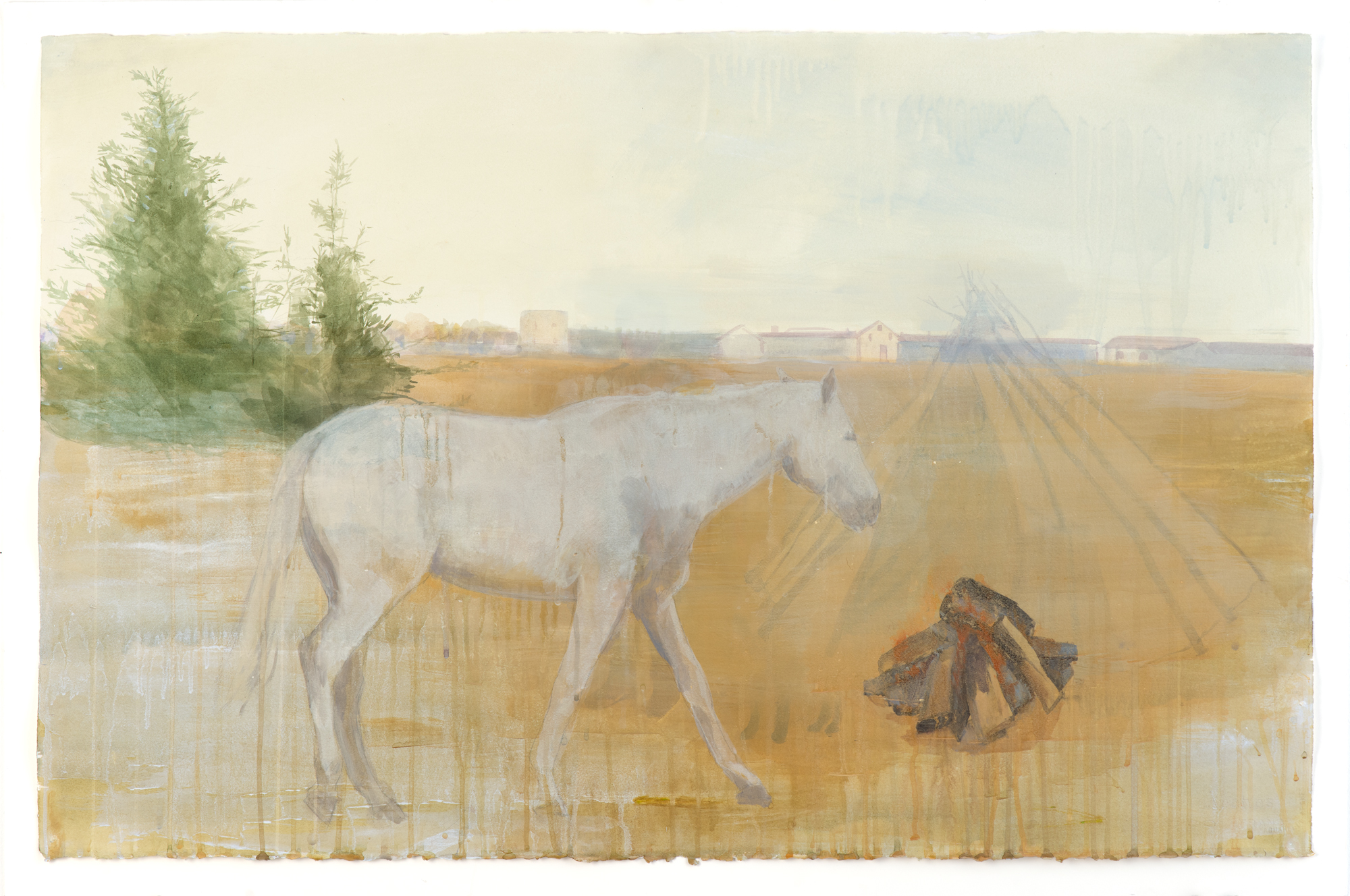 "Two Realms (White Mare),  2012, acrylic and ink on paper, 26"" x 40"""