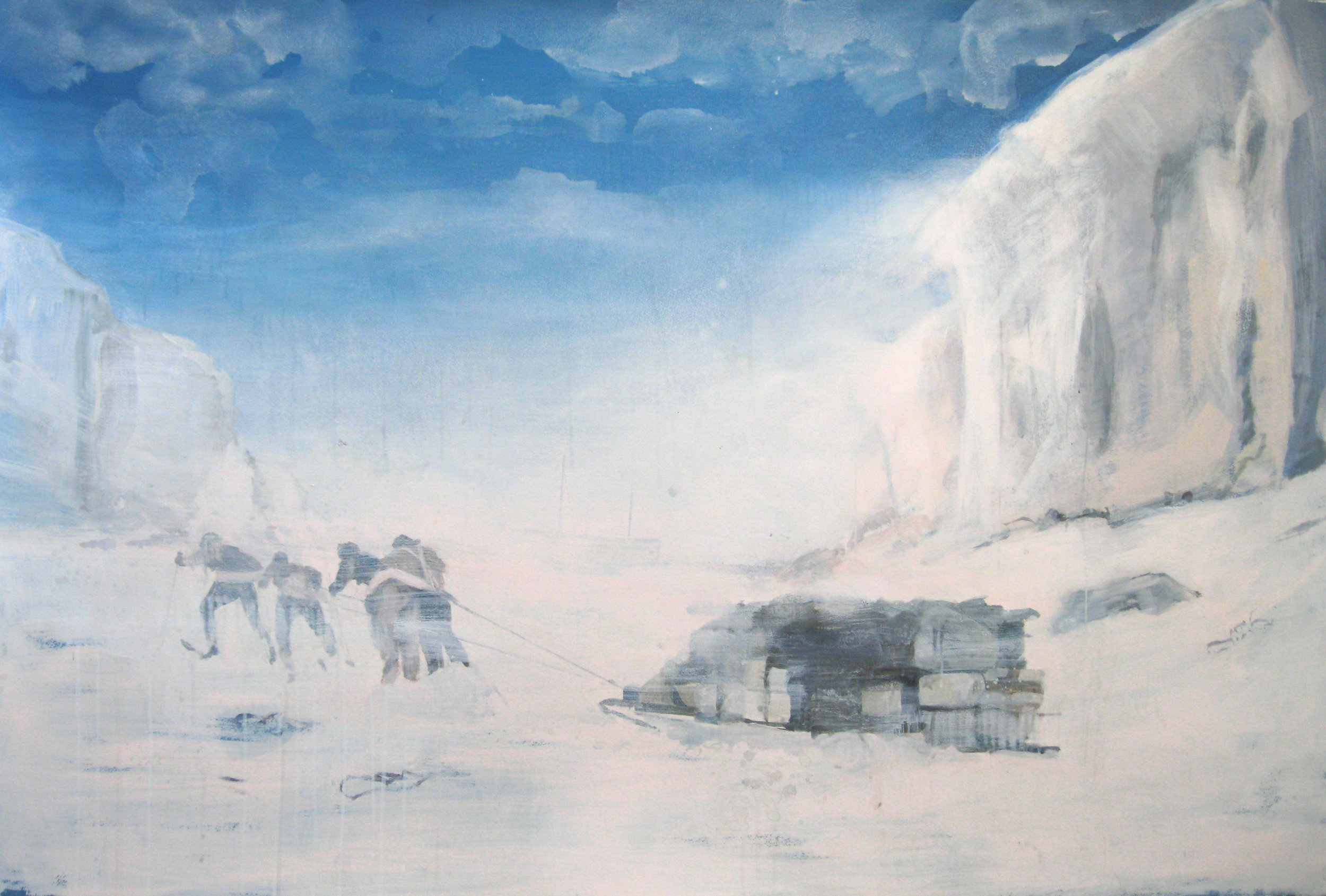"The Last March,  2012, acrylic on paper, 40"" x 60"""
