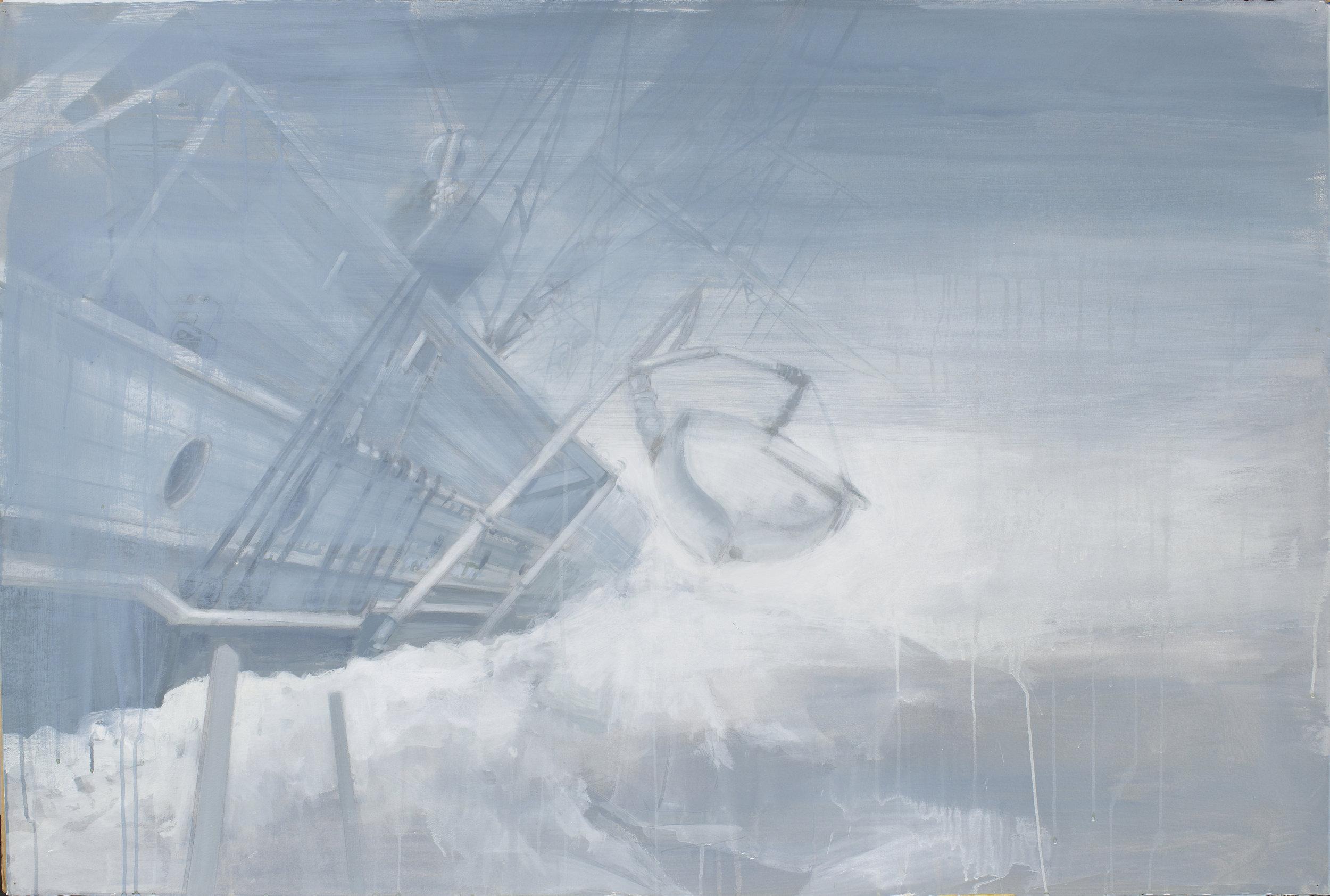 "Beset,  2012, acrylic on paper, 40"" x 60"""