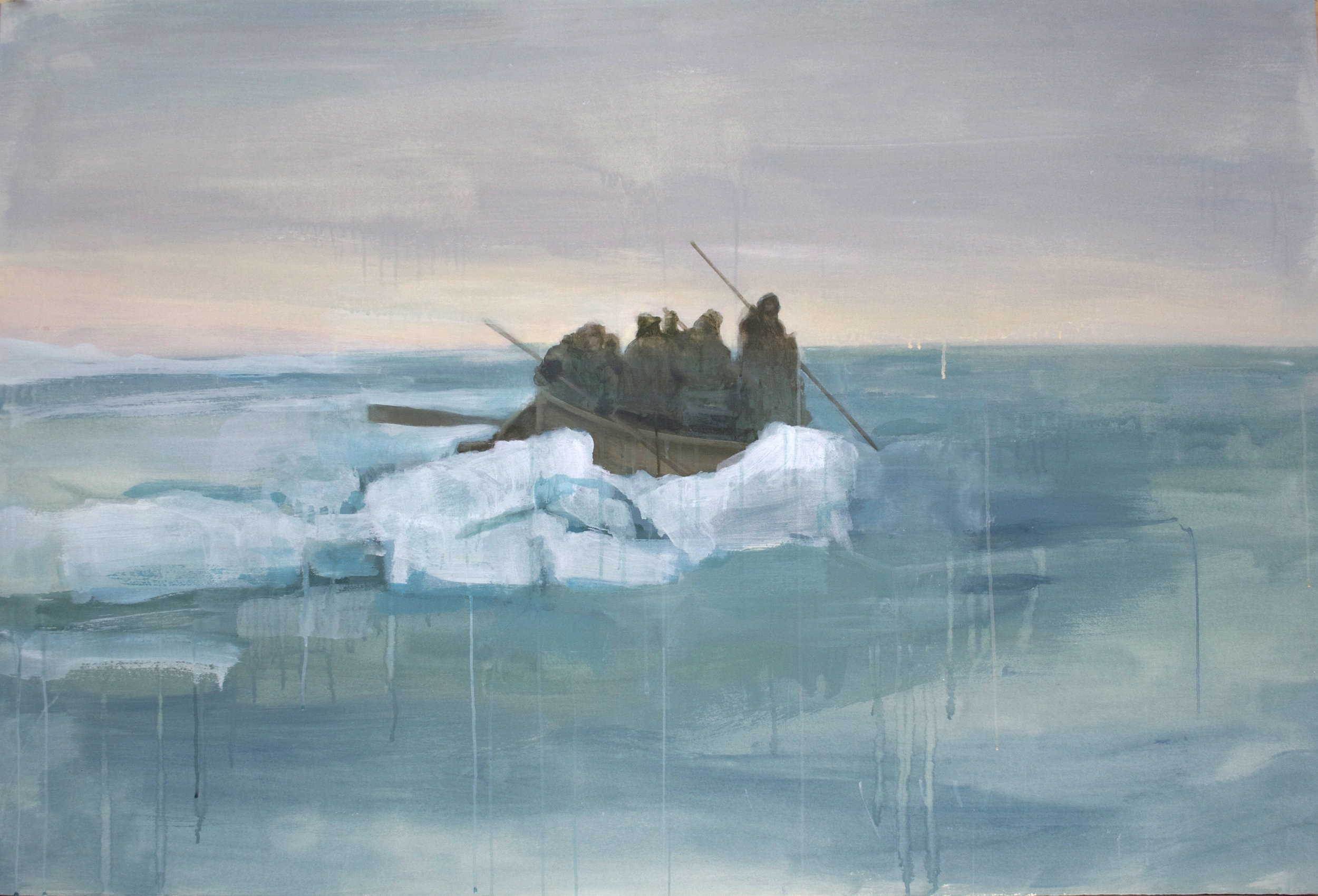 "800 Miles, 16 Days,  2012, acrylic on paper, 40"" x 60"""