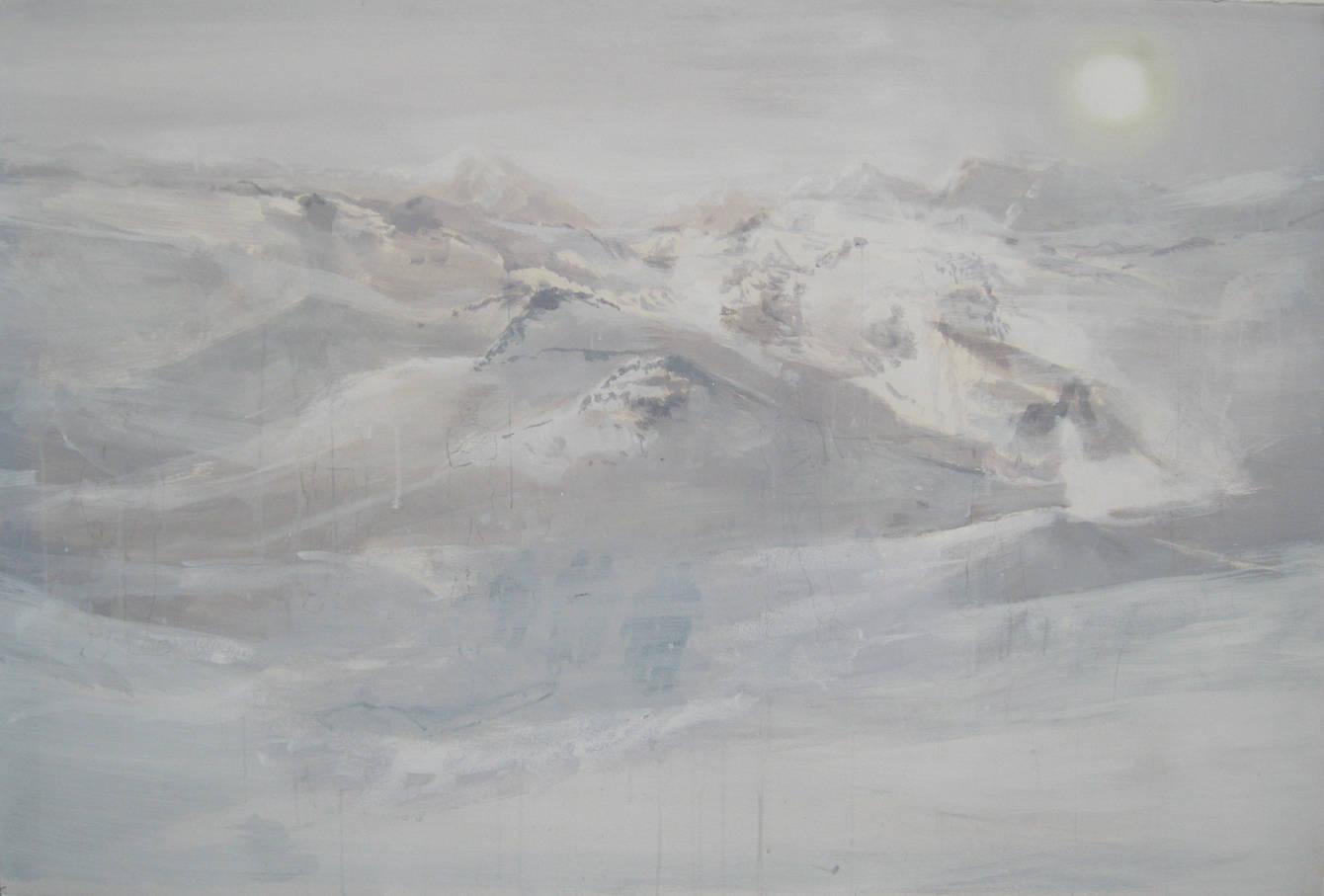 """Towards The Sun, 2011, acrylic on paper, 40"""" x 60"""""""